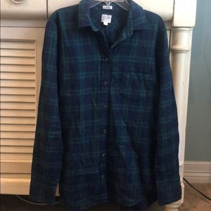 J. Crew Navy & Green Plaid Flannel Button Down Top